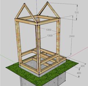Схема каркаса дачного туалета