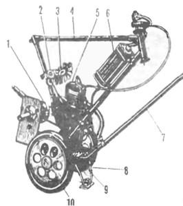 Конструкция из велосипедного мотора и насоса